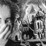 Zelfportret met verlaten landhuis