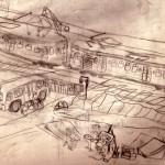 Treinen, overweg, auto's