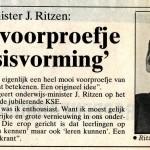 De reactie van de minister in de krant