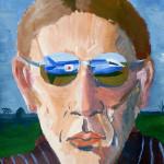 Portret met spiegelende bril, spion