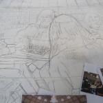 1.Een van de panelen, klaar voor het schilderen