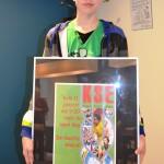 Winnaar onderbouw Bas van Hassel A2E met zijn werkstuk