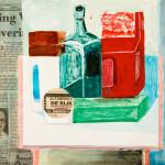 Miklos de Rijk: Stilleven met verpakkingen, verwerking, plakkaatverf