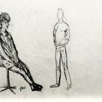Miklos de Rijk: modelschetsen, links: Joke