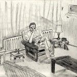 Miklos de Rijk: Figuur in interieur, oom Ko in de huiskamer