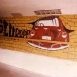 De voltooide schildering van Ingrids ontwerp in de tunnel
