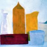Maker helaas onbekend: Stilleven met verpakkingen, plakkaatverf