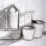 Maker helaas onbekend: Stilleven met verpakkingen, houtskool