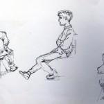 Maker helaas onbekend: Figuurschetsen met in het midden Miklos poserend