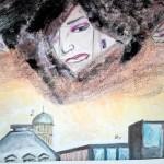 Ingrid Verwijst: Surrealisme 3, thinnerdruk met gouache