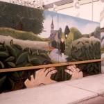 'Een voyeur in Etten-Leur. het ontwerp van Dimphy zoals dat op de muur gezet is