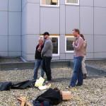 Tijdens het voorschetsen, rechts Willemijn (achter Richard)
