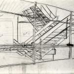 Schets trappenhuis naar de waarneming