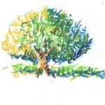 Voorstudie gepointilleerde boom