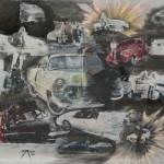 1985-12-collage met benzeen-magazine knipsels(=opdracht-geen idee)-final-kleurpotlood en gouache, benzeen afdrukken-65b * 50h-door Miklos de Rijk