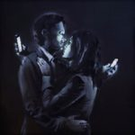 Banksy: couple with cellphones