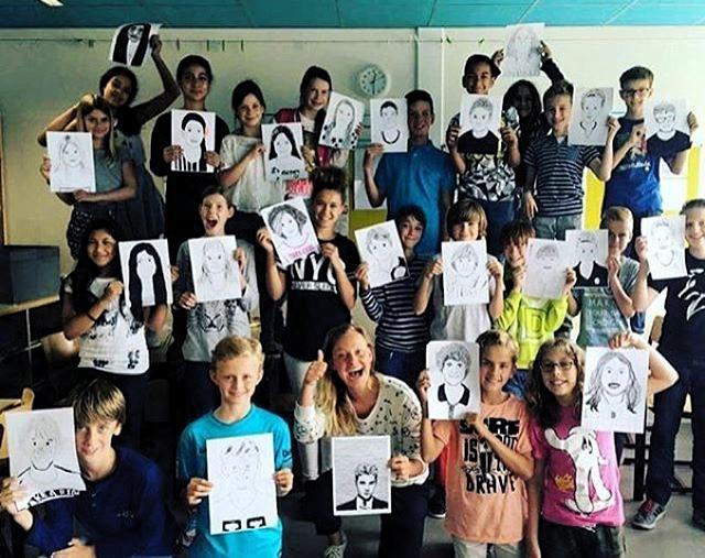 Portrait drawing class @ Basisschool de Zonnewereld, Vleuten