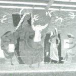 Jans schildering in de aula van de brugklas