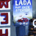 Winkelstraat met reclameborden, detail
