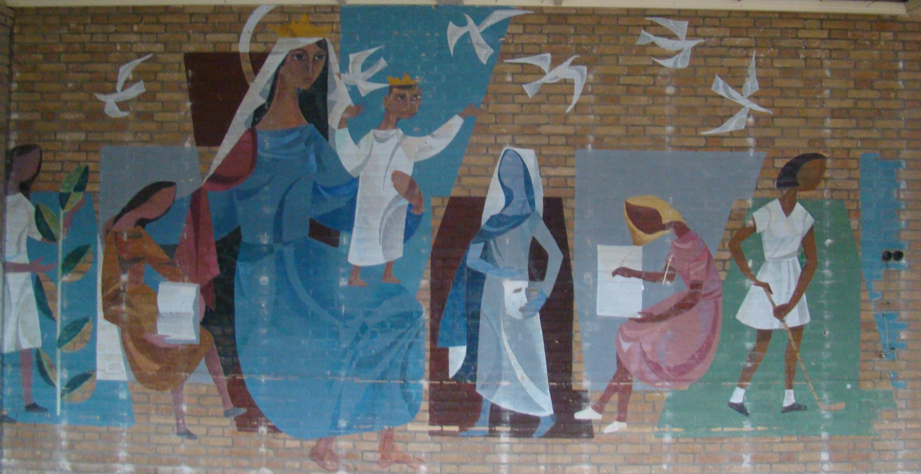 "Muurschildering ""Regina Nostra'"