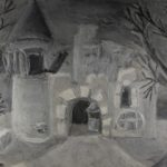KSE tekenles klas 1D 1978-1979: 'Het verlaten landhuis'