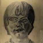 KSE tekenles VWO 4 1981-1982: Voorstudie portret met speigelende bril