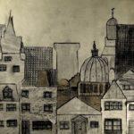 KSE tekenles klas 1D cijfer 8- 1978-1979; collage 'De stad'