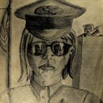 KSE tekenles klas VWO 4 1981-1982; Portret met bspiegelende bril
