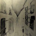 KSE tekenles VWO 5D 1982-1983: Winkelstraat in perspectief