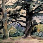 landschap met bomen, aquarel