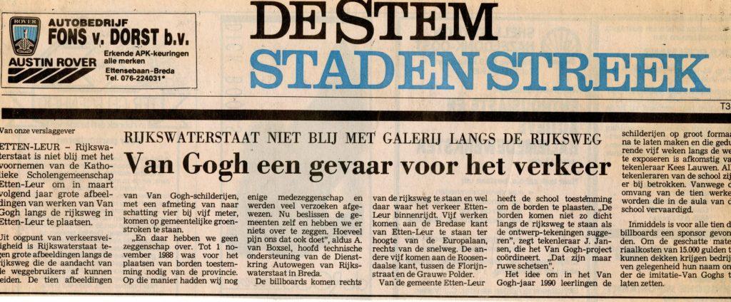 Rijkswaterstaat slaat alarm, Dagblad De Stem 9-11-1989