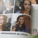 Artikeltje uit een der bladen over twee leerlingen die bij Teleac een presentatie gehouden hebben over het media onderwijs