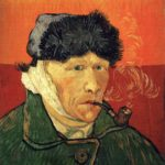 Zelfportret met verbonden oor en pijp uit 1889