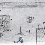 1985-09-Muurbeschilderingen-voor-Gymlokalen-schets-detail-potlood-50b-33h-door-Miklos-de-Rijk