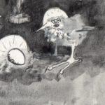 Vogel Maria, met krulspelden,detail kerstkaart 1