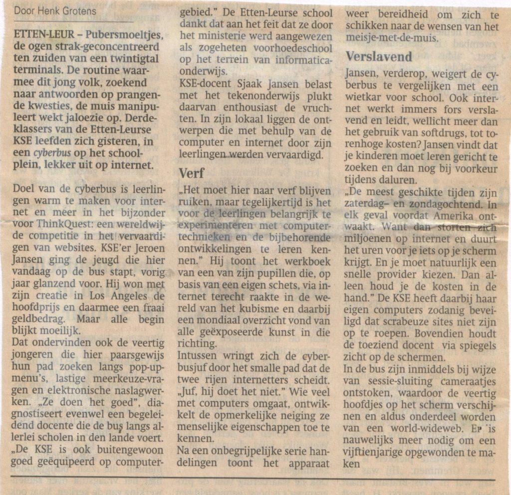 Cyberbus 1999,artikel in BN/DeStem van Henk Grootens