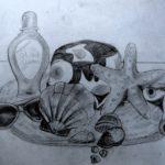 Studie stilleven strandspullen grijstinten