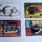 Studie stilleven strandspullen kleur, vorm,compositie
