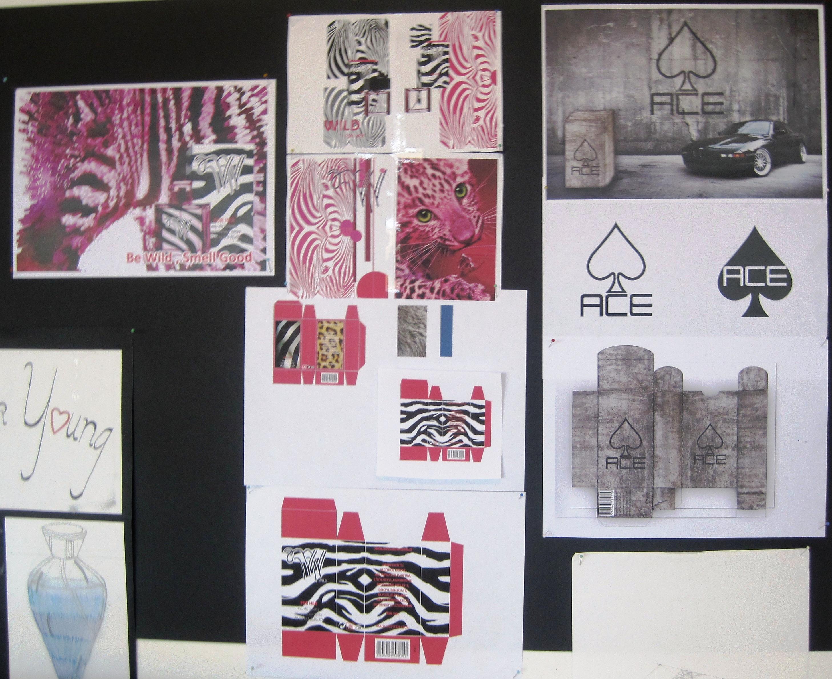 Diverse ontwerpen op het prikbord