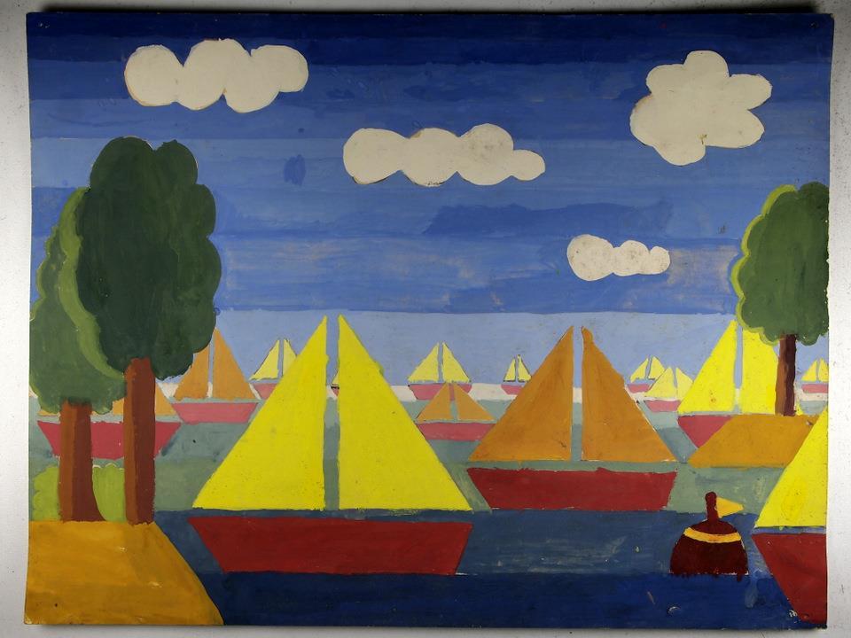 KSE tekenles klas 1D 1978-1979: de eerste echte schilderopdracht