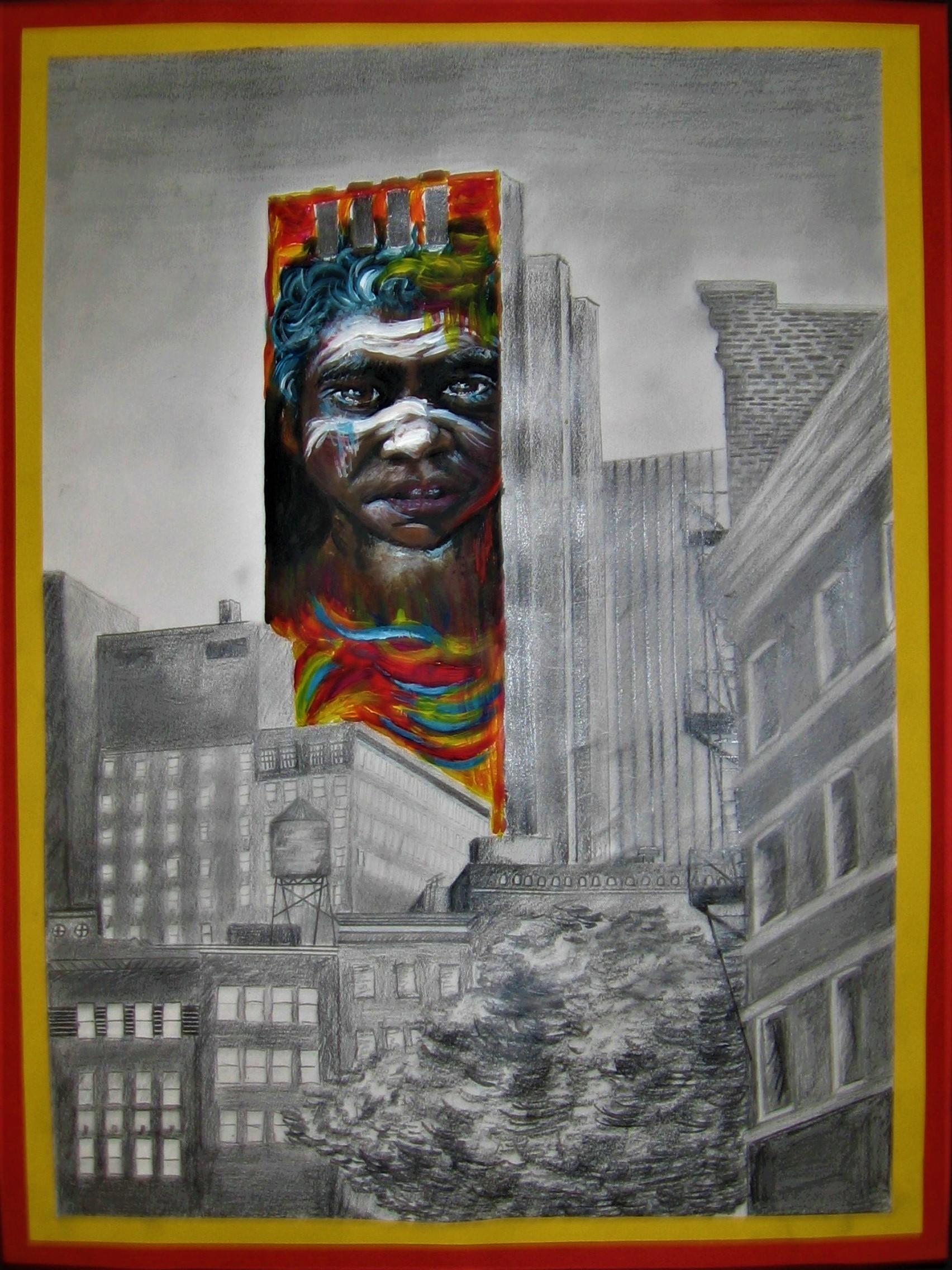Muurschildering in de stad