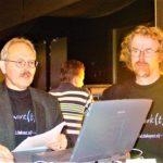 Jan en ik vóór de prijsuitreiking tijdens het demonstreren van onze strafwerksite.