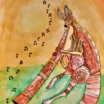 Kangoeroe en didgeridoo