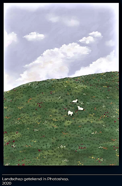 Landschap getekend in Photoshop