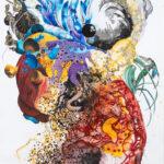 Core Muscle, 2019, Gouache, watercolour, pen on paper, 121 x 183 cm