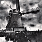 12. Mill by night - clouds experiment (sketch 03-12-2020) A4 HB