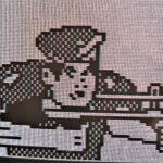 Soldaat, getekend door Martin, wellicht geïnspireerd op Wolfenstein 3D