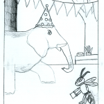Illustratie kinderboek wesp en olifant
