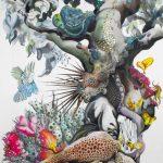 Baobab core, 2020-21, Pen, gouache, watercolour, pencil, gold leaf on paper, 183 x 113 cm