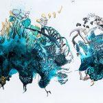Broken chain, 2020, Pen, gouache, watercolour, acrylic, pencil on paper, 80 x 184 cm